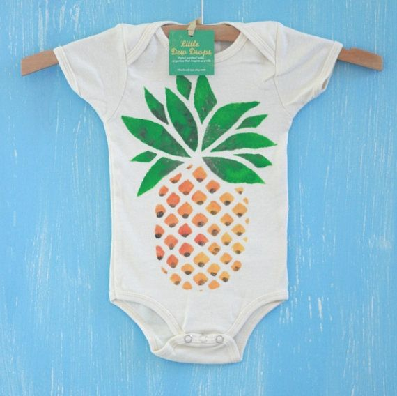 pineapple organic hand painted baby onesie or by littledewdrops, $25.00