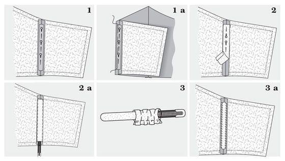 Rysunki ilustrują metodę wszywania fiszbinów