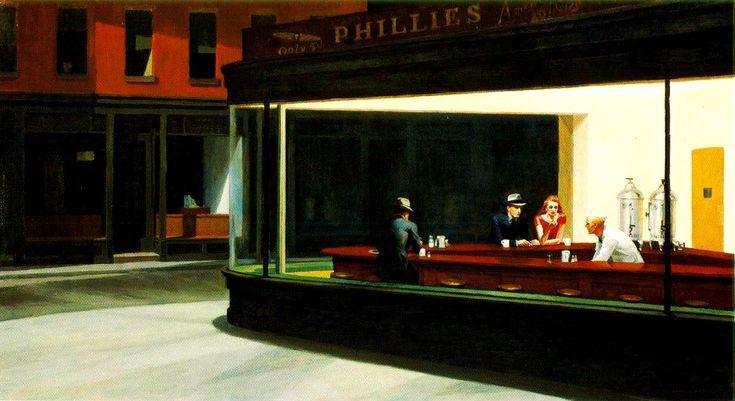 """Edward Hopper, """"Nighthawks"""" (1942), Art Institute of Chicago. #Art"""