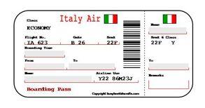 Italiaanse boarding pass