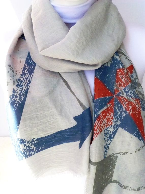 Anchor Patterned Scarf, Shawls, Scarves, Women Fashion Accessories, Summer Scarf, Spring Scarf, Gift Ideas For Her For Mom
