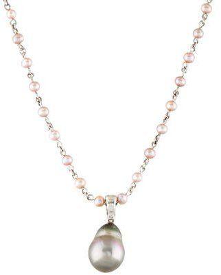 18K Cultured Pearl & Diamond Enhancer Necklace