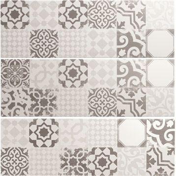 Carrelage Mural Décor Tadelak PREMIUM En Faïence, Mix Blanc Gris, 25 X 75 Beau