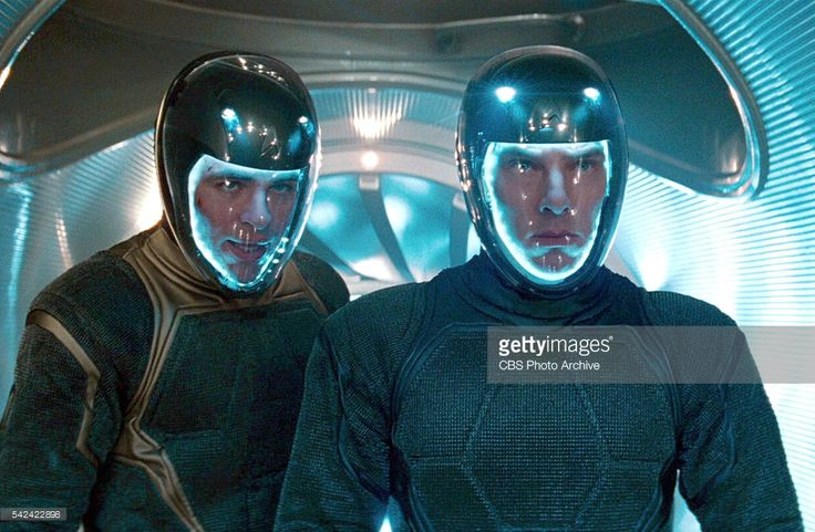 Chris Pine as Captain James T. Kirk and Benedict Cumberbatch as Khan Noonien Singh donning thruster-powered spacesuits in the 2013 movie, 'Star Trek: Into Darkness.' Release date May 16, 2013. Image is a screen grab.