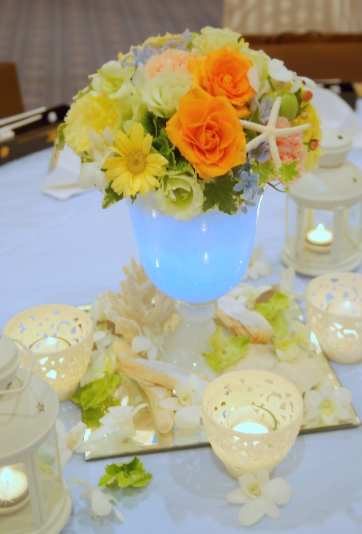 Real Weddings*sea breeze starfish coral shell driftwood
