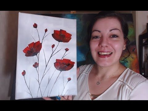 VideoTuto – Poppies for Beginners – Simple Acrylic Painting #acrylic #couticots #starting #facile #painting tutotube.com / ….