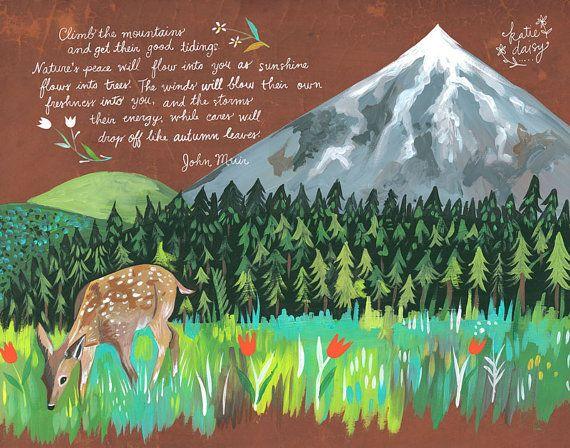 Grimper les montagnes Art Print | Citation de John Muir | Art mural nature | Plein air | Lettrage à la main | Daisy Katie | 8 x 10 | 11 x 14
