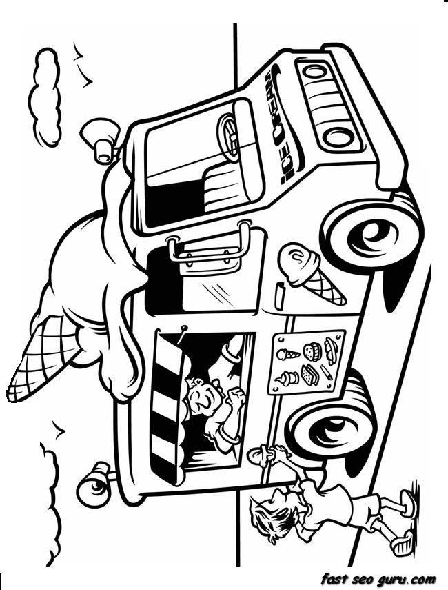 Printable Ice Cream Truck Coloring In Sheet Truck Coloring Pages Coloring Pages Free Kids Coloring Pages