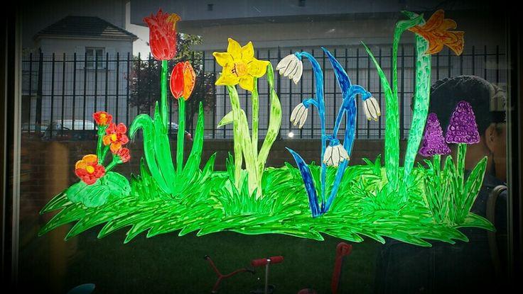 Decoration de vitre spring decoration my drawings for Decoration fenetre printemps maternelle