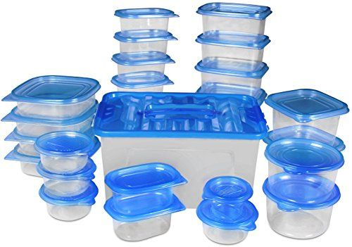 Traditional Food Storage Container - Blue (54-Piece) - BPA Free - Reusable - Environment Friendly - Multipurpose Use for Home Kitchen or Restaurant - By Utopia Kitchen, ,