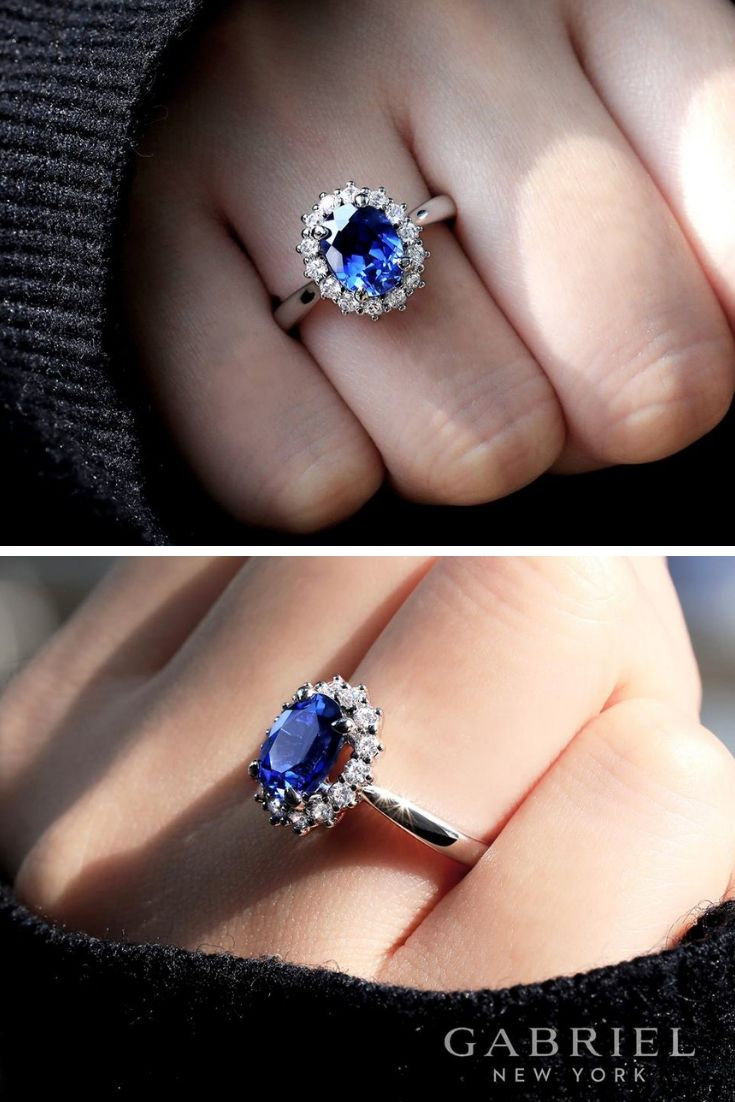 14k White Gold Oval Halo Blue Sapphire Engagement Ring Explore