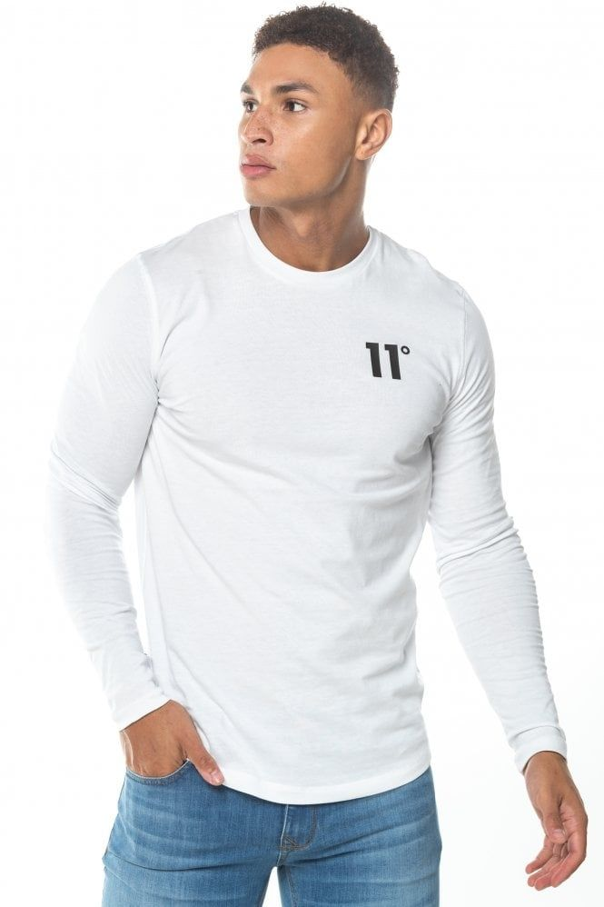 Camiseta 11 Degrees Manga Larga Blanca Camisetas Blancas Ropa De Hombre Camisetas