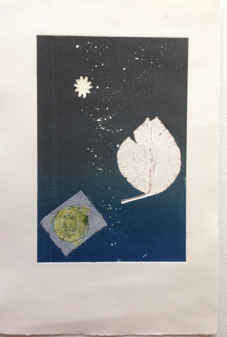 Still Life, By starlight: Monoprint on Stonehenge paper with Chine Colle. Image size 12.5cm x 19cm