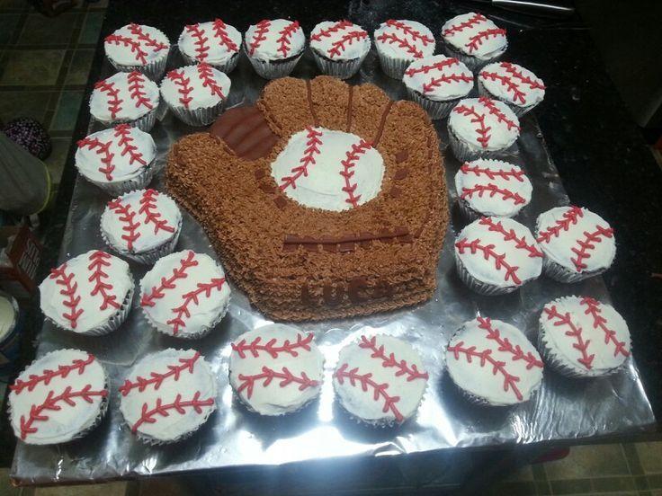 Baseball Cakes   baseball cake and cupcakes   Cakes