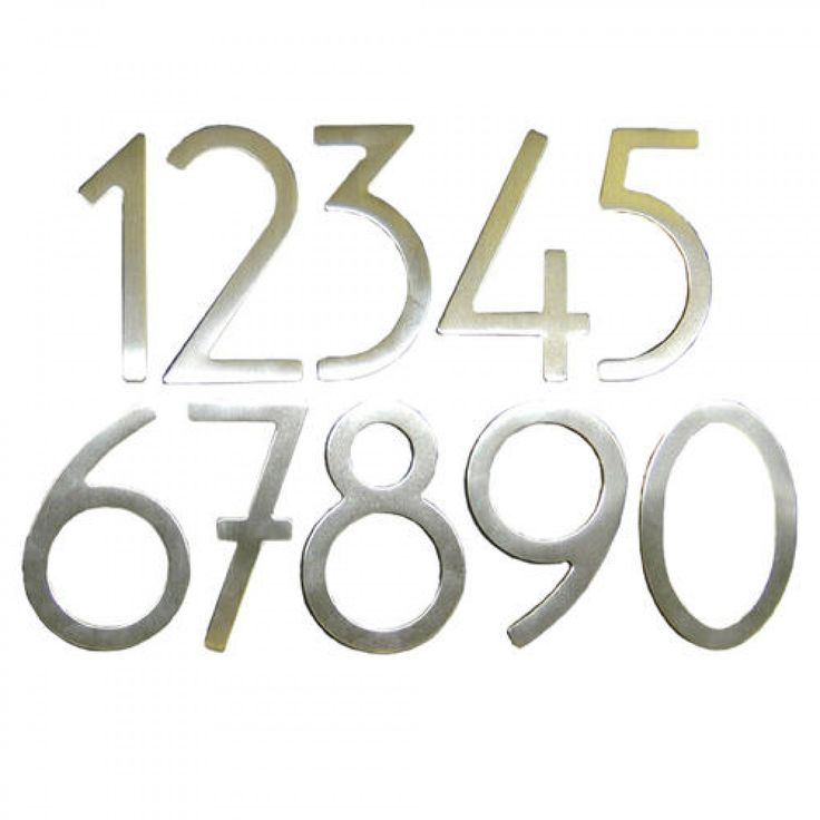 Raw Stainless Steel Contemporary Adhesive House Numbers - Address Plaques and House Numbers - Outdoor