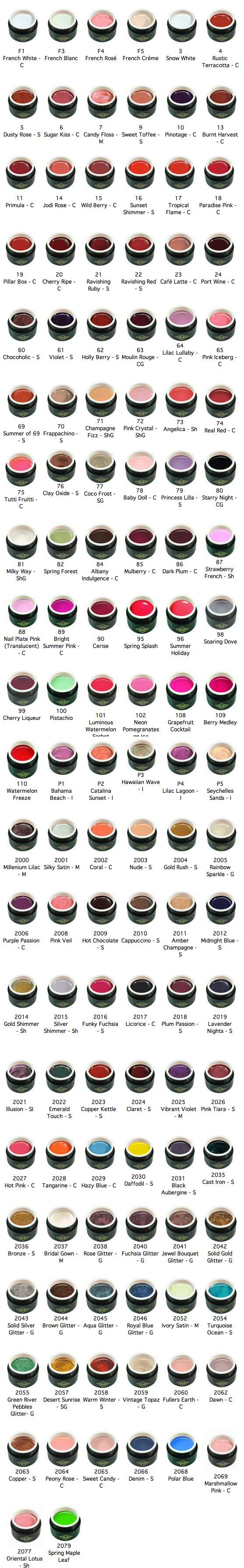 The Bio Sculpture colours on offer with our nail technician at the Hand and Foot Studio