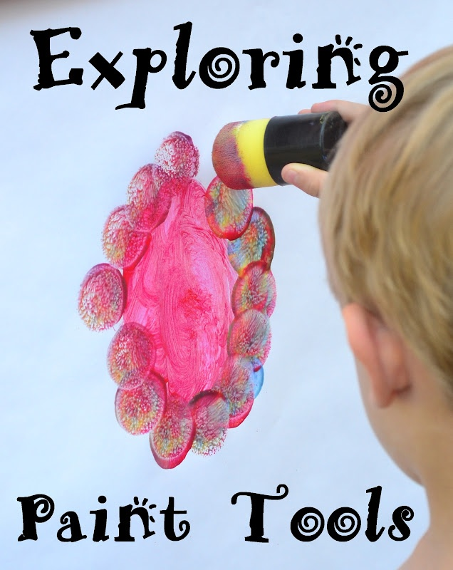 In Lieu of Preschool: Painting Outdoors: Exploring Paint Tools from Rainbow Creations