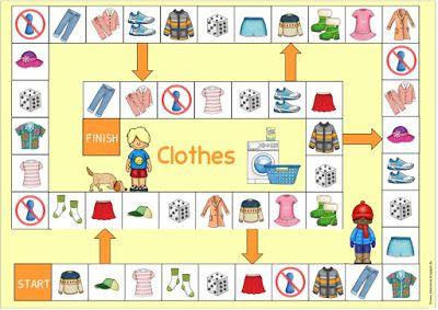 """Spielfelder """"Kleidung"""" für Englisch und DaZ"""