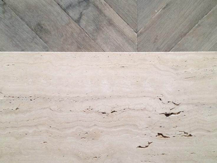 Herringbone parquet & travertine marble at the new DAMIR DOMA Store Paris 54 Rue Faubourg Saint-Honoré 75008 Paris opening this week.