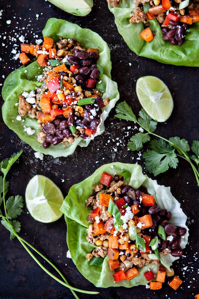 Black Bean, Sweet Potato and Chicken Lettuce Wraps