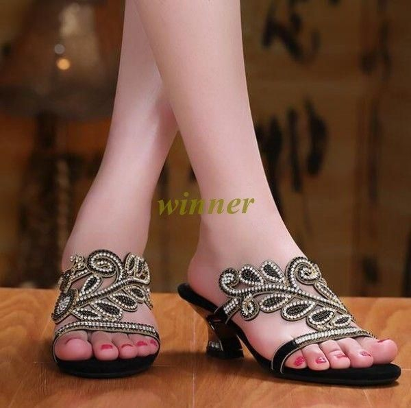 Beach Sandals Womens Rhinestone Mid Heels Leather Open Toe Summer Slippers Shoes