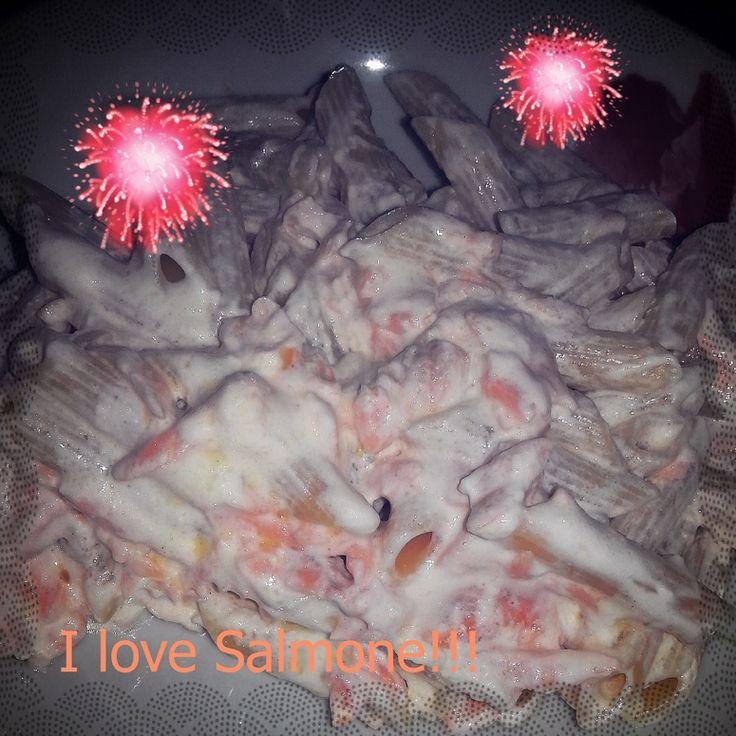 Penne con panna e salmone, senza lattosio