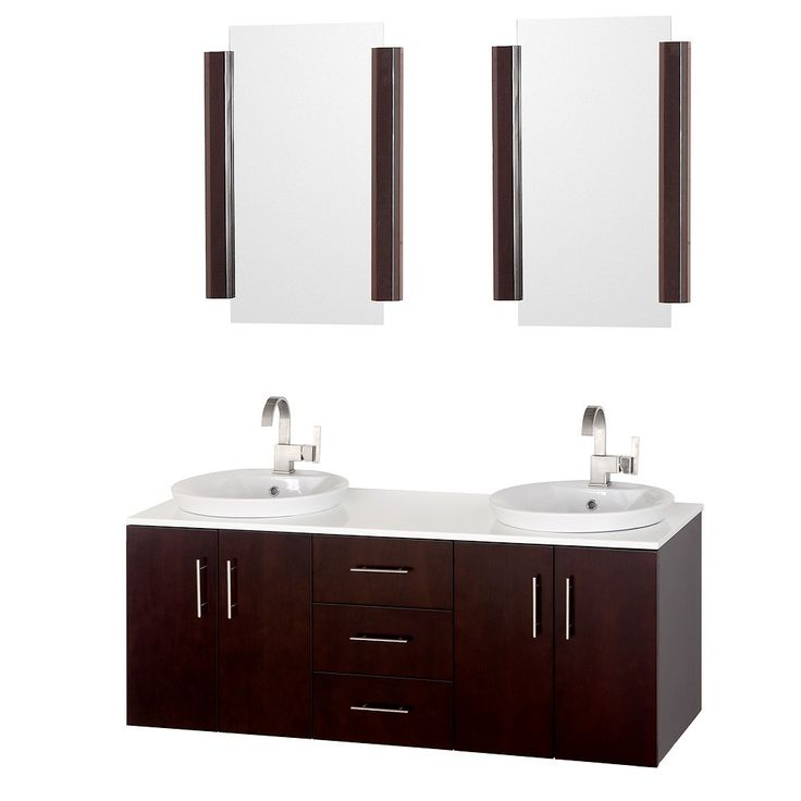 modern bathroom fountain valley reviews%0A Arrano    inch Modern Bathroom Vanity Set Espresso Finish  White manmade  stone counter  Features soft close door hinges and porcelain semirecessed  sinks