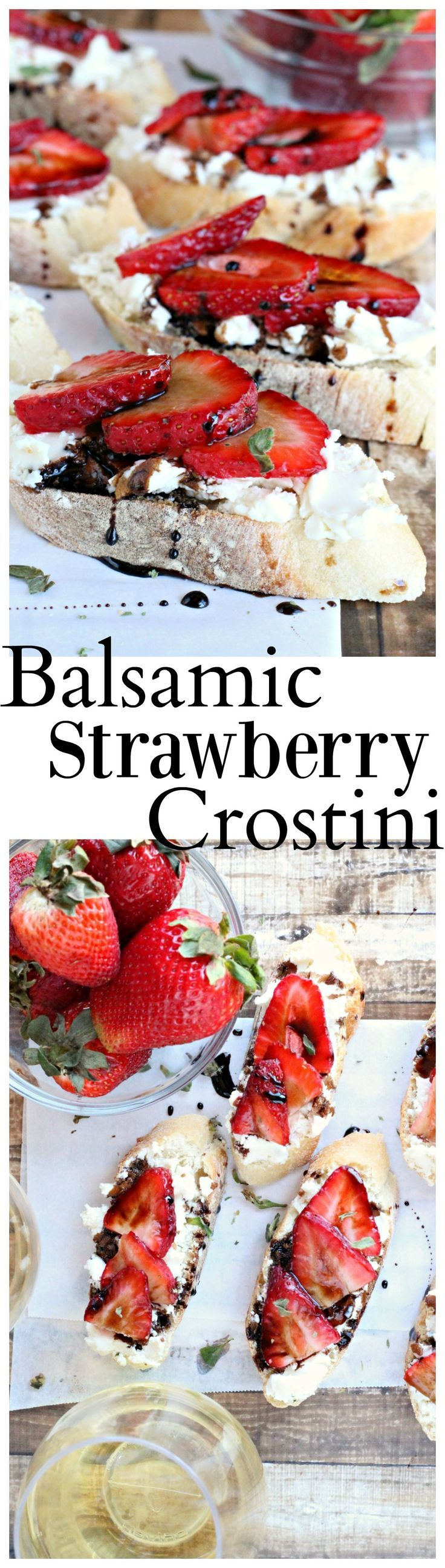 Crostini topped with goat cheese, sliced strawberries, and a drizzle of balsamic reduction.