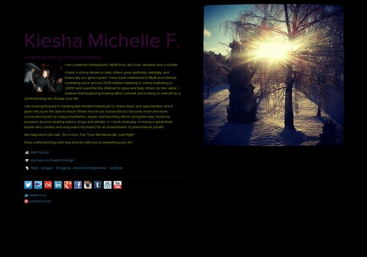 Kiesha Michelle F.'s page on about.me – http://about.me/kimfal