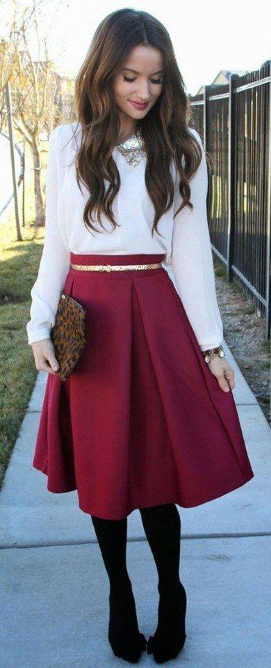 Стильные юбки миди цвета марсала
