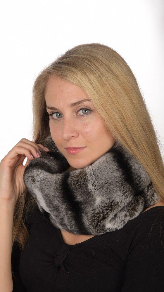 Soft and elegant rex-chinchilla fur neck warmer. Real fur accessory. Handmade in Italy.  www.amifur.co.uk