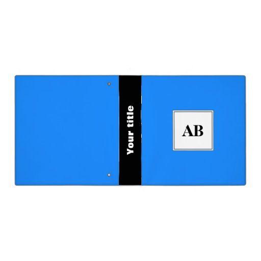 Azure blue solid color with monogram binder