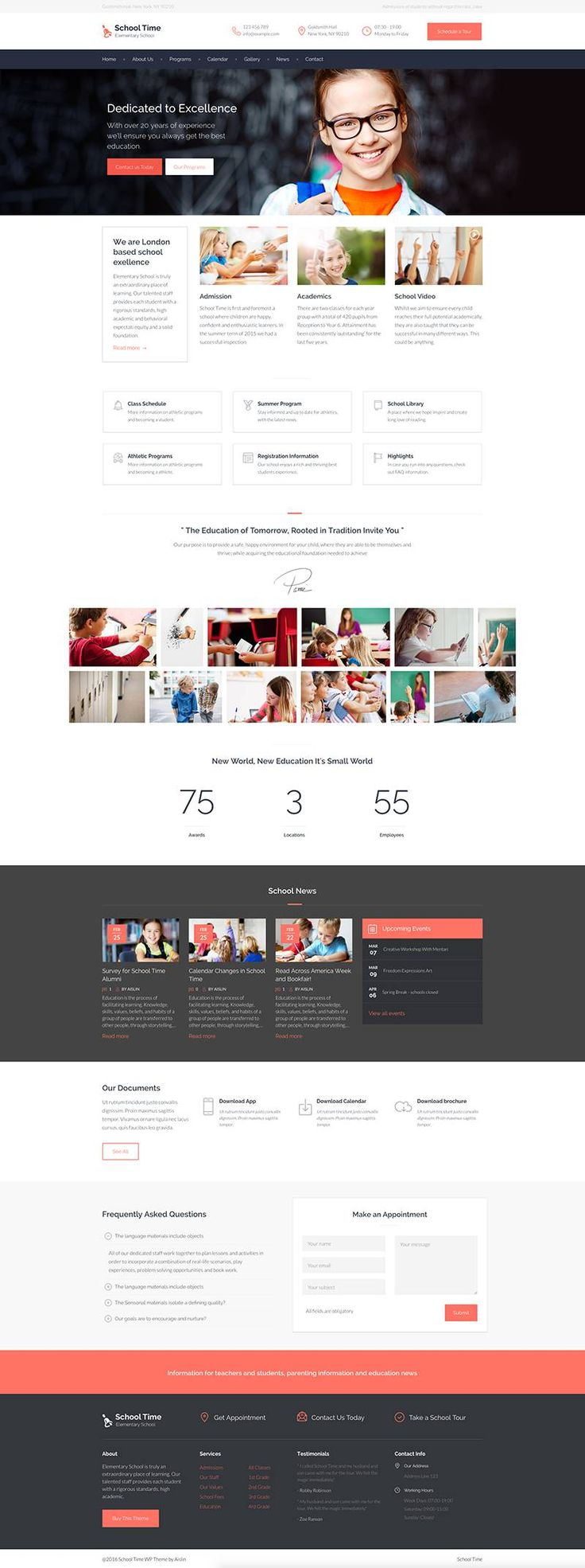 School Time is a fully functioning website template for WordPress to showcase basic admissions, location and staff info as well as online lessons & courses.