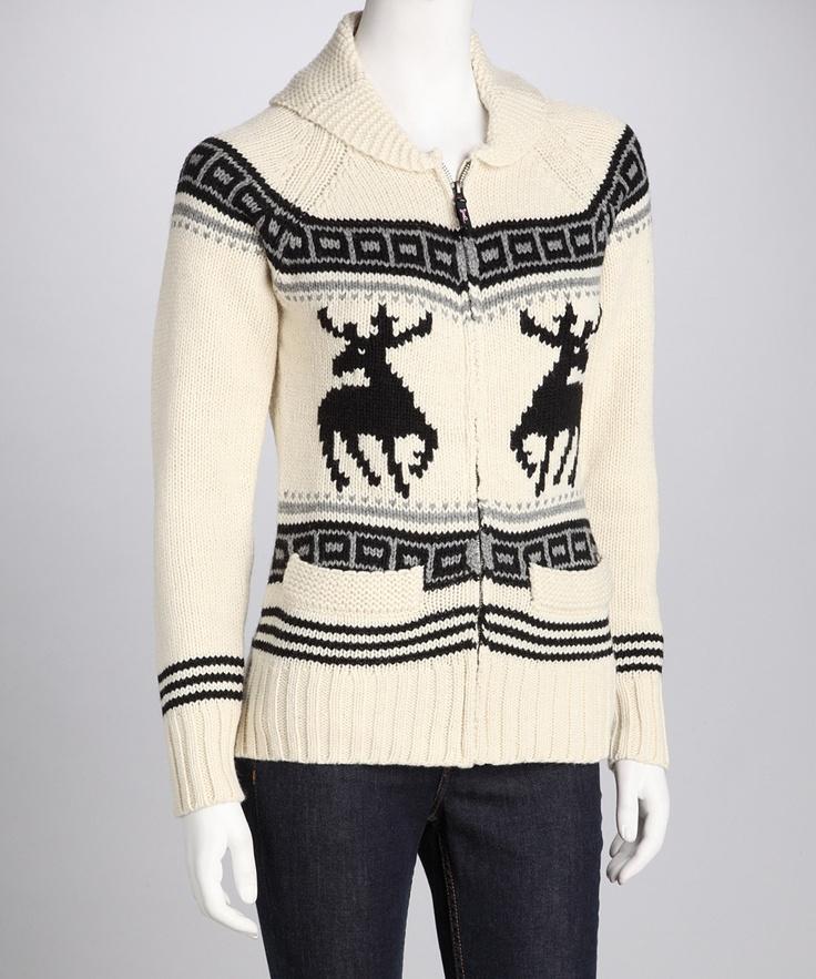 Zip-Up Reindeer Sweater