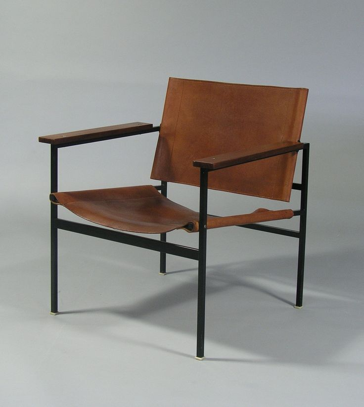 Eddi Harlis Enameled Metal Leather And Wood Armchair For