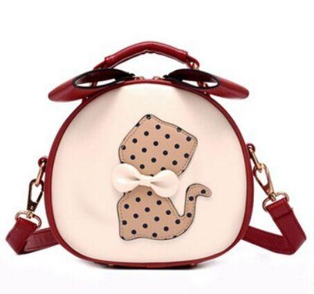 Handbags Women Shoulder Bag Ladies Small Bowknot Leather Cute Circular Cat Mini Crossbody Messenger Bags Bolsos Mujer Sac A Main - Top Kawaii - Best Online Kawaii Shop Top Kawaii - Best Online Kawaii Shop