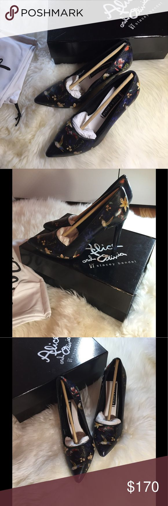 New Authentic Alice-+Olivia floral pumps New with original package.Come with box and dust bag.Women size 37.beautiful floral print on black lambskin.Price is firm. Alice + Olivia Shoes Heels