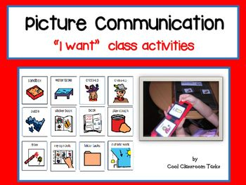 Communication in class Autism/Special Education Visual choice board in blue, pink or white for you to choose from.18 visual for class resources plus empty boxes to make your own visuals Simply laminate the visuals and the board of your choice and Velcro in place, laminate the sentence strip and place it in the position provided.