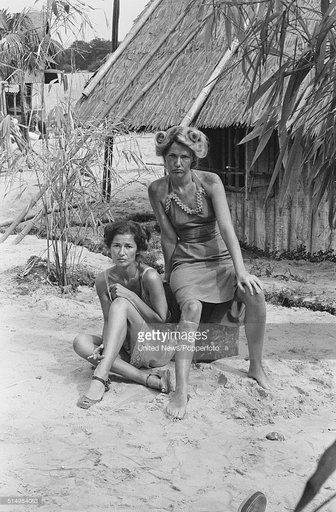 English actresses Stephanie Beacham and Louise Jameson (right) pictured together in character as Rose Millar and Blanche Simmons in a scene from the television drama series 'Tenko' on 19th August 1981.
