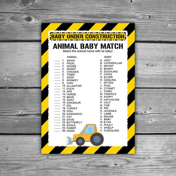 Construction Baby Shower Animal Game  Printable  by TheDigiSloth