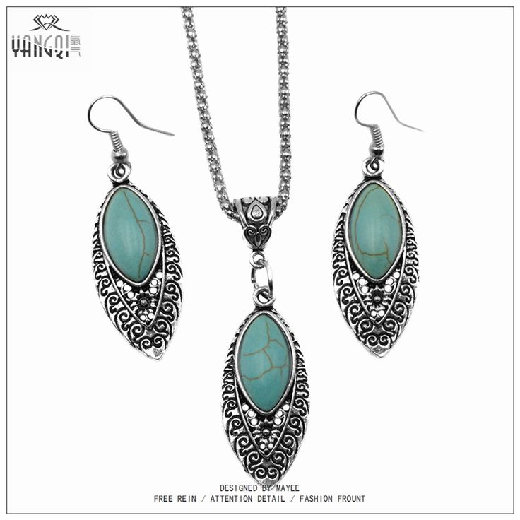 3pcs/sets Mujer Statement Kolye Leaves Turquoise Stone Necklace & Pendant Vintage Silver Tone Earrings Turquoise Jewelry Sets