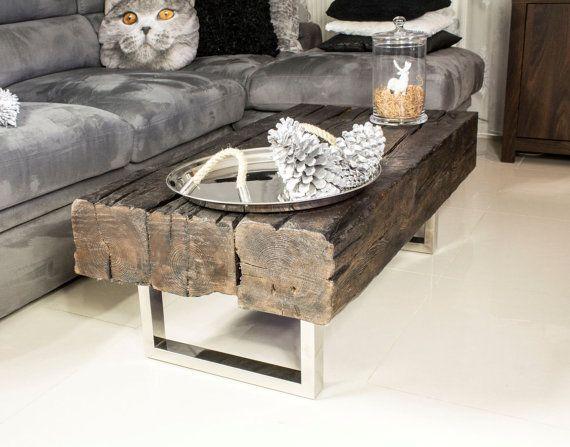 Oak Coffee Table Old Joist Reclaimed Wood by ProjektCacko on Etsy