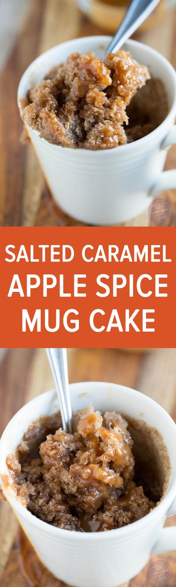 Celebrate apple season with this salted caramel apple spice mug cake! Less than 5 minutes gets you a single serving cake to satisfy that sweet tooth!