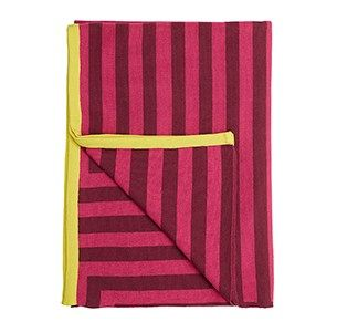 Meta blomme/pink/gul plaid / knitted blanket / 100% wool / made in denmark