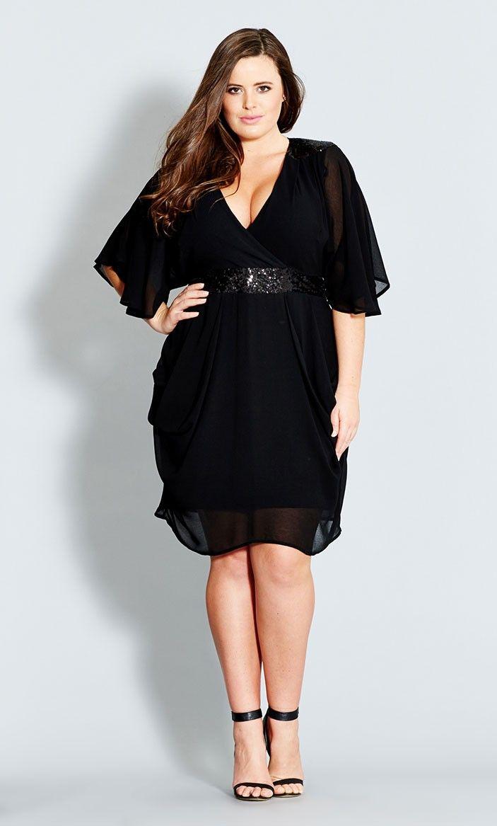 Plus Size Sequin Wrap Dress - City Chic