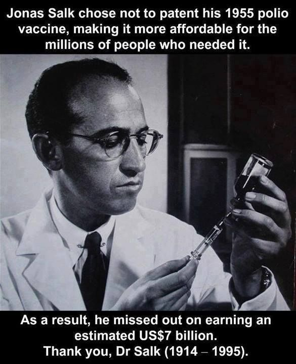 Jonas Salk was not just the inventor of the polio vaccine. He was a great humanitarian.
