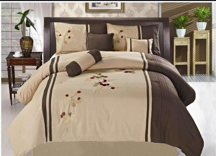 LaCozee Dune 7 Piece Comforter Set $84.99 From Bedding.com #brown #beige