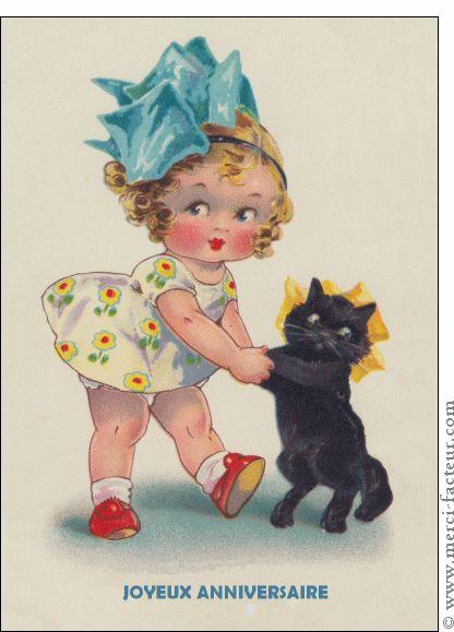 carte joyeux anniversaire petite et son chat pour envoyer par la poste sur merci facteur. Black Bedroom Furniture Sets. Home Design Ideas