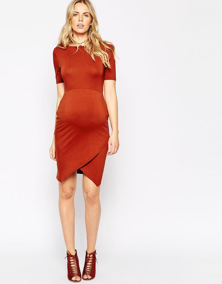Image 4 of ASOS Maternity Body-Conscious Dress With Asymmetric Hem