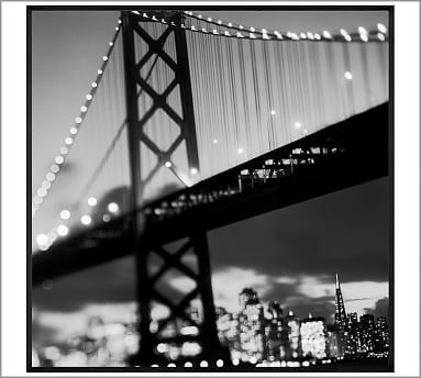 "Bay Bridge by Michal Venera, 48 x 48"", Wood Gallery, Black, No Mat"